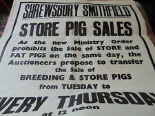 Vintage Original Livestock Auction Poster Shrewsbury Smithfield Pig Sales