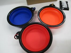 3x Pet Collapsible Bowl Dog Cat Water Food Dish Portable Silicone Travel Feeding