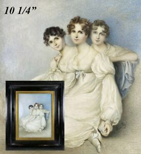 Huge Antique English Portrait Miniature, 3 Girls in Silk Gowns, c.1800, Signed