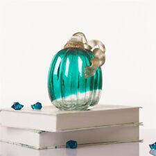 "Glitzhome 5.51"" Handblown Turquoise Crackle Glass Art Pumpkin Harvest Decoration"