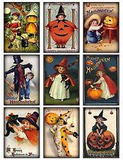 9 Vintage Halloween Kids Hang Tags ATC Cards Scrapbooking  (359)