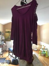 Jennifer Lopez Cold Shoulder Purple Knit Top Tunic Size XL With Silver Studs