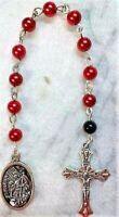 FireFighter Fireman Pocket Prayer Beads Glass Beads w/Patron Saint Florian