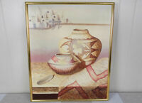 Richard Haines original painting with Acoma Pueblo Native American style pottery