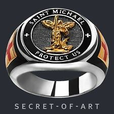 Saint St Michael Ring Archangel Protect Us Catholic Silver 925 24K-Gold-Plated