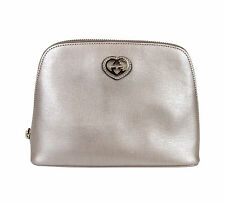 New Authentic GUCCI Leather Pouch Clutch Bag w/Heart Pink Large 338189 5711
