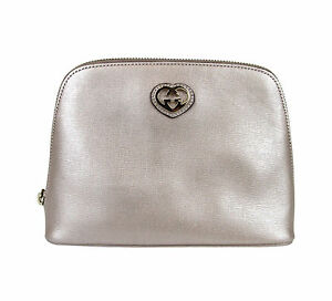 New GUCCI Leather Pouch Clutch Bag w/Heart Pink Large 338189 5711 s