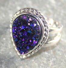 SILVER Vintage Style Royal Blue Rainbow Titanium Druzy Ring Size 6, WR12001