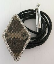 Rattlesnake Skin Handcrafted Bolo Tie Large Xl Sterling Silver & Genuine