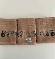 Pack of 3 'On The Farm' Kitchen Hand Tea Towel Latte 100% Cotton 50cm x 65cm