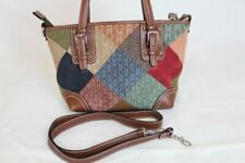 Fossil patchwork shoulder hand bag boho hippy fabric leather suede removable