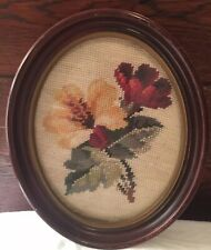 Framed Needlepoint Roses Flowers Oval Vintage Antique Completed Finished Yellow