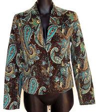 NWT Dalia Blazer Jacket SZ 4 Micro Corduroy Paisley Print Brown & Turquoise