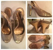 ARTURO CHIANG Golden Nude Leather Slingback Open Toe Heels Sandals Women Size 5M