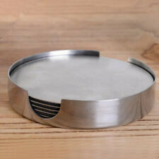 Set of 6 Round Metal Insulated EVA Stainless Steel Coaster Cup Holder Cushion
