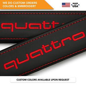Seat Belt Covers Shoulder Strap Leather Pads Custom Fits Audi Quattro Red 2PCS