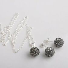 Sterling Silver Shamballa Disco Ball Necklace and Earrings Set