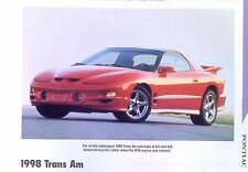 1998 Pontiac Firebird Trans Am WS6 LS1 305 320 hp Ram Air Info/Specs/photo 11x8