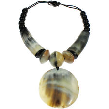 Tribal ethnic natural buffalo horn big pendant bead choker necklace jewellery