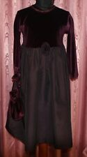 Tina Toole ☺ bordeaux Pannesamt+Satin ☺ Kleid mit Beutel+Stirnband  Gr.110 *TOP*
