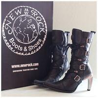 New Rock Stiefel Gr. 37 Malicia Stiefeletten schwarz mit Schnallen (#2272)