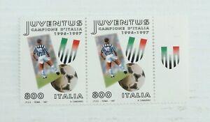 Lotto n. 2 Francobolli Juventus Campione d'Italia 1996-1997. Non Timbrati