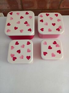 Emma Bridgewater - Pink Hearts - Set of 4 Snack Tubs, Clip Lid Tubs Pots New