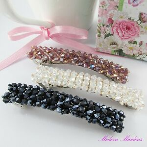 Beaded Crystal Hair Clip Hair Barrette Select from 6 Colours