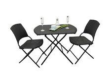Marsala - 2 sedie pieghevoli ed 1 tavolo pieghevole in plastica sintetica, nera