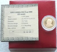 1999 South Africa Gold Proof Krugerrand 1/10oz Coin Box Coa