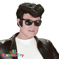 Adults Mens 1950s Greaser Wig 50s Rock & Roll Elvis Grease Fancy Dress Accessory