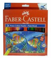 1 x FABER-CASTELL 24 Water Colour Color Pencils + Paint Brush Drawing Art Craft