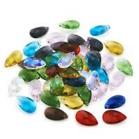 100pcs Glass Drop Pendants Charms Crystal Suncatcher Faceted Beads Craft 22x13mm