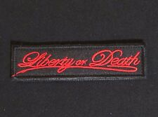 LIBERTY OR DEATH STRAIGHT TAB US MORALE OPS RED VELCRO® BRAND FASTENER PATCH