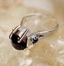 Silberring 53 Mondstein Weiß Saphir Blau Onyx Schwarz Elegant Krone Silber Ring