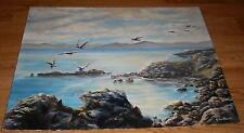 VINTAGE ALAMEDA CALIFORNIA BAY FARM ISLAND SEAGULLS SEA SHORE ROCKS OIL PAINTING