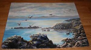VINTAGE ALAMEDA CALIFORNIA BAY FARM ISLAND SEAGULLS SEA SHORE ROCKS OIL PAINTING