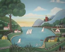 Sailboat Sea FOLK ART - Primitive Folk Art Print- signed Wendy Presseisen