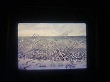 COMM Slide Photo Panoramic Map town city 1889 Detroit Michigan aerial street rd