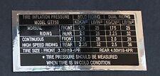 Suzuki GT750 Caldera, Calcomanía/Pegatina-Información de la presión del neumático.