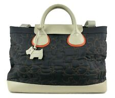 -RADLEY- BLUE FABRIC QUILTED TURQUOISE LEATHER MULTI-WAY TOTE HAND/SHOULDER BAG