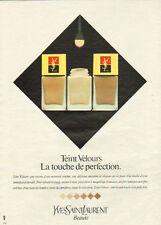 Publicité Advertising 1982  Teint velours fond de teint de YVES SAINT LAURENT