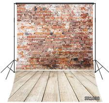 3x5ft Red Brick Wall Rustic Wood Floor Vinyl Backdrop Studio Photo Background LB