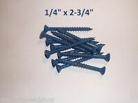 "1/4"" x 2-3/4"" CONCRETE MASONRY cement SCREWS anchors FLAT HEAD PHILLIPS (12PC.)"
