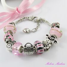 Pretty Pink European Snake Chain Bracelet 11 Beads & Charms Lobster Clasp 18cm