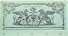 1870's Engraved Griffins Mythology Dickenson Hard Rubber Siphonia Elastica F59