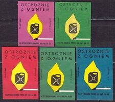 POLAND 1968 Matchbox Label - Cat.Z#886 set, Cautiously with fire.