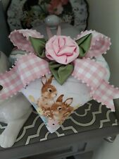Shabby Spring Easter Bunnies & Pink Roses Decorative Heart Ornament