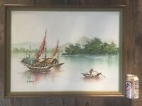 Oil Painting Signed A. Wong, Asian Boats Waterscape, Framed, Vintage Original