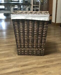 Members Mark Woven Lidded Laundry Hamper with Canvas Liner Brand New